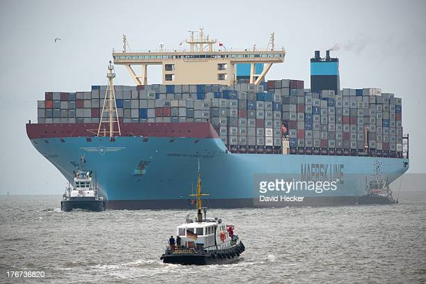 The world's biggest container ship, the Maersk MC-Kinney Moller as it arrives at the port of Bremerhaven on August 18, 2013 in Bremerhaven, Germany....