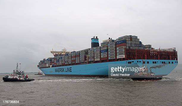 The world's biggest container ship the Maersk MCKinney Moller as it arrives at the port of Bremerhaven on August 18 2013 in Bremerhaven Germany The...