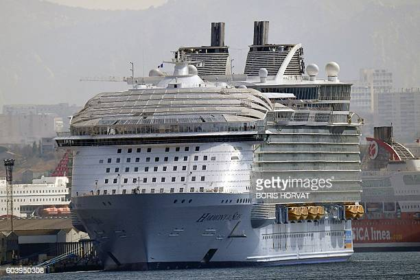The world's biggest cruise liner the Harmony of the Seas is docked in the French port of Marseille southern France on September 13 2016 One person...