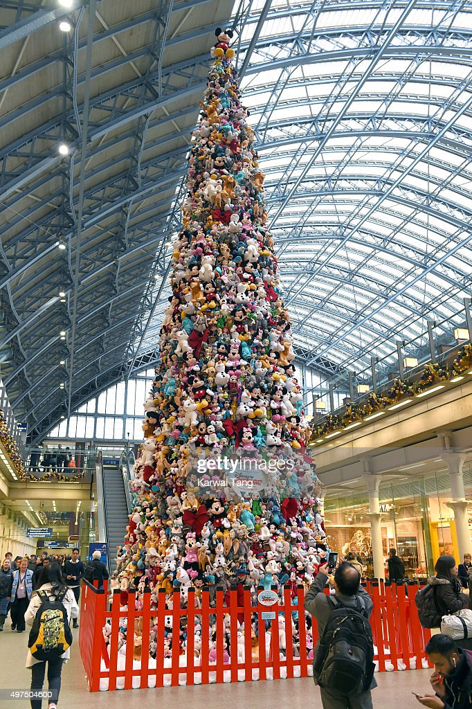 The world's biggest Disney Junior soft toy Christmas tree, which has been created using 2000 soft toys stands in London at St Pancras International Station on November 17, 2015 in London, England.