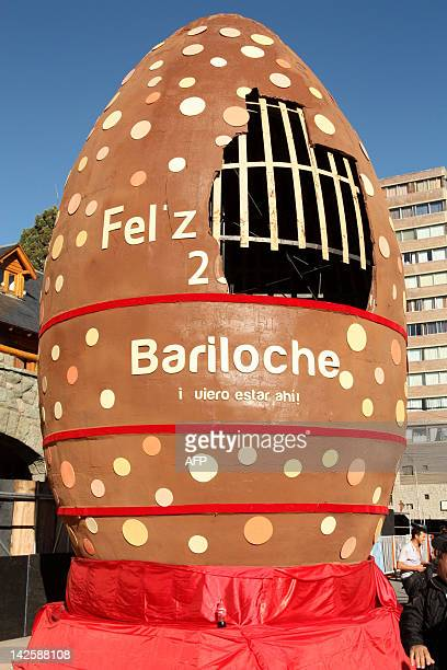 The world's biggest Easter egg made by professional pastrycooks during the Chocolate Festival in San Carlos de Bariloche in the foothills of the...