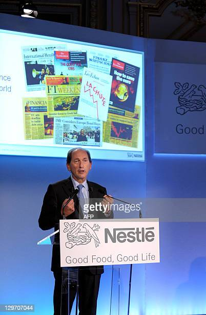 The world's biggest food company Nestle Chief Executive, Paul Bulcke speaks during a press conference to announce the group's financial results on...
