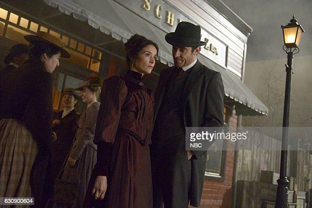 TIMELESS 'The World's Columbian Exposition' Episode 110 Pictured Abigail Spencer as Lucy Preston Goran Visnjic as Garcia Flynn