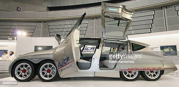 The world's fastest electric car 'Eliica' developed by Keio University of Japan is on display during the preview for the 39th Tokyo Motor Show 2005...