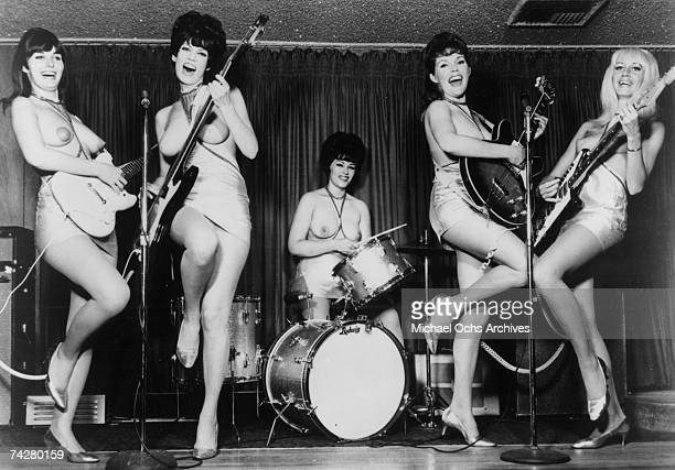 The world's first allgirl topless band The Ladybirds pose for a publicity photo circa 1967