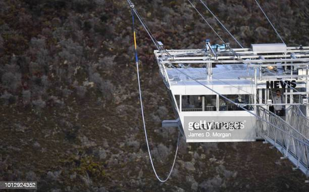 The world's first human catapult at the unveiling of the new Nevis Catapult on August 8 2018 in Queenstown New Zealand AJ Hackett Bungy New Zealand's...