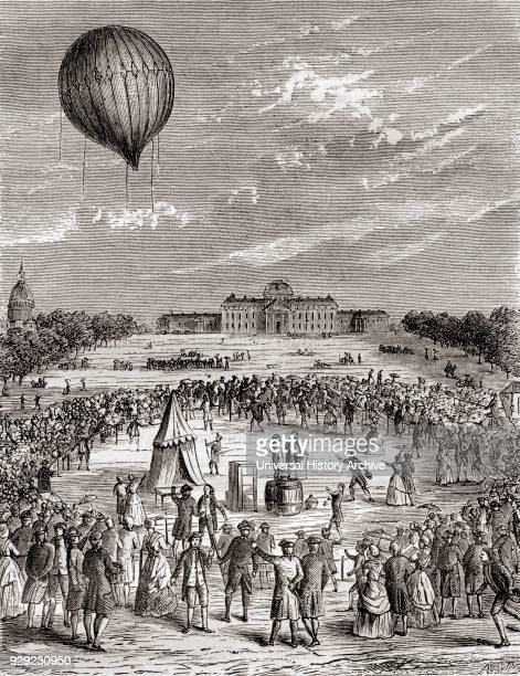 The world's first hydrogen balloon launched over the Champs de Mars Paris France in 1783 Launched by NicolasLouis Robert and professor Jacques...