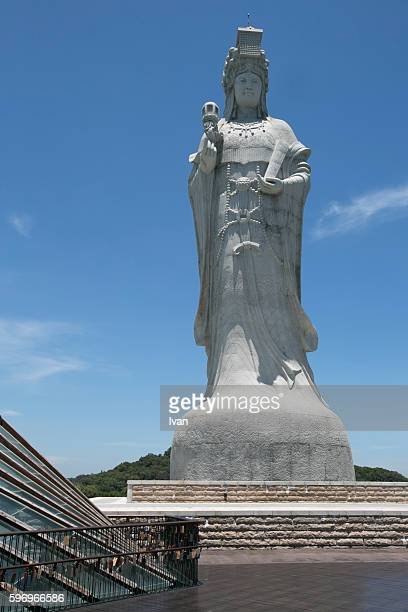 the world's hightest statue of mazu in taiwan, mazu - buddhist goddess stock pictures, royalty-free photos & images