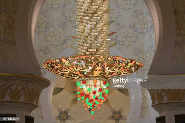 The worlds largest chandelier from Germany made from one million Swarovski crystals Sheikh Zayed Mosque 1995 Emirate of Abu Dhabi