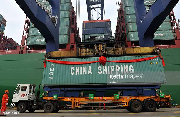 The world's largest container ship starts its maiden voyage at Port of Ningbo on December 9, 2014 in Ningbo, Zhejiang province of China. The world's...