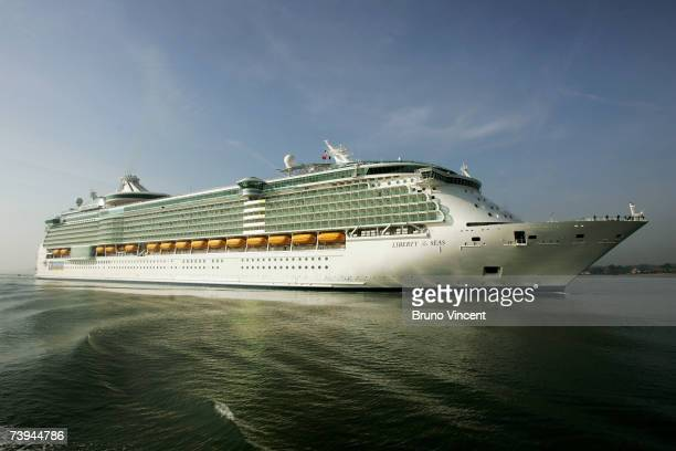 The world's largest ocean liner, the 'Liberty of the Seas' arrives at the Port of Southampton, on April 22, 2007 in Southampton, England. The...