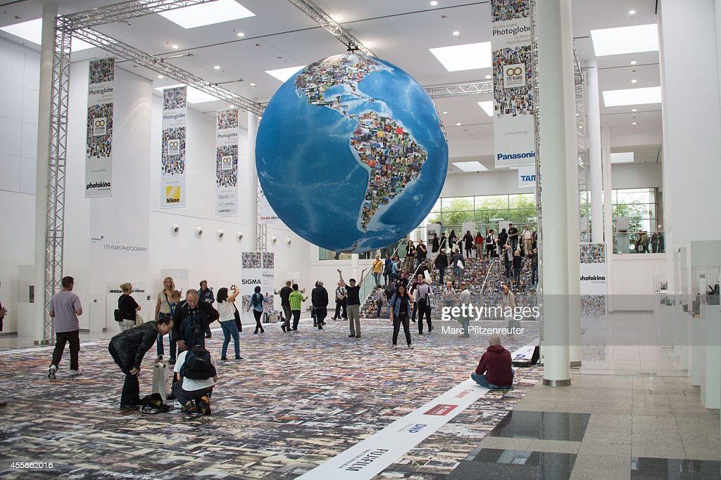 The Worlds Largest Photoglobe - A Visual Highlight at the 2014 Photokina trade fair on September 21, 2014 in Cologne, Germany. Photokina is the world's largest trade fair for cameras and photographic equipment.