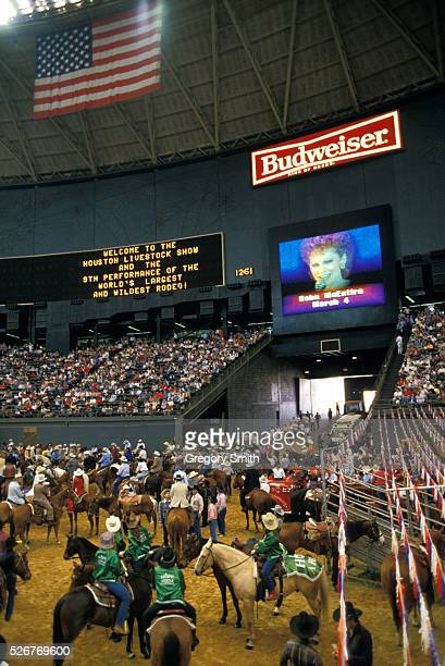 The worlds' largest rodeo at the Houston astrodome.