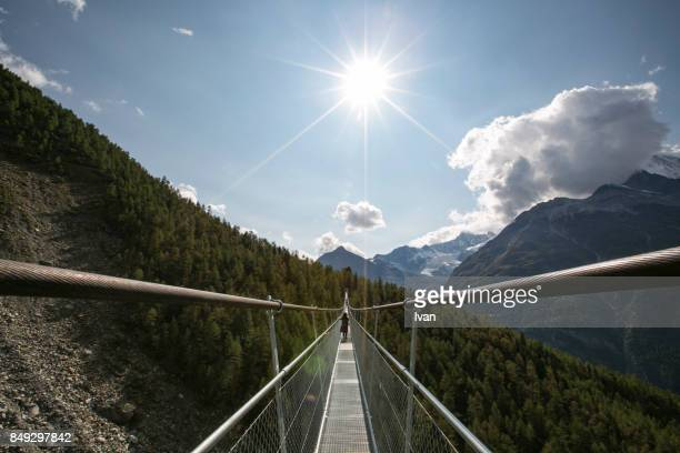 the world's longest bridge, charles kuonen suspension bridge,switzerland - suspension bridge stock photos and pictures