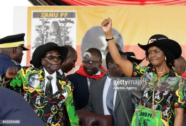 The world's oldest leader Zimbabwean President Robert Mugabe and his wife Grace Mugabe attend the celebration of Mugabe's 93rd birthday organised by...