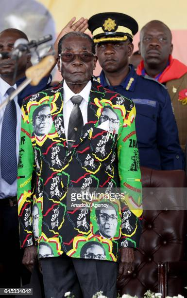 The world's oldest leader Zimbabwean President Robert Mugabe attends the celebration of his 93rd birthday organised by Zimbabwe African National...