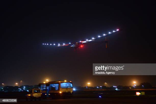 The world's only solarpowered plane Solar Impulse 2 is landing at Sardar Vallabhbhai Patel International Air Port in Ahmedabad the main city of...