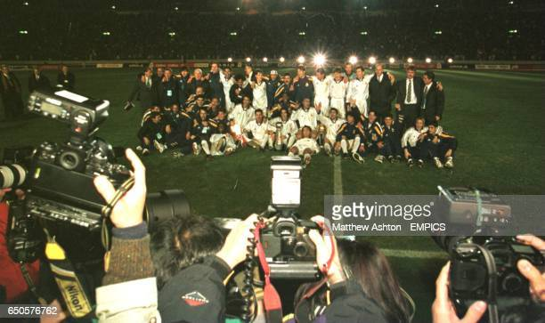 The worlds press photograph the Real Madrid team celebrating winning the Toyota Cup the World Club Championship