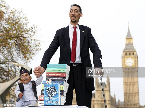The worlds tallest man Sultan Kosen meets with the shortest man ever, Chandra Bahadur Dangi for the very first time on November 13, 2014 in London,...
