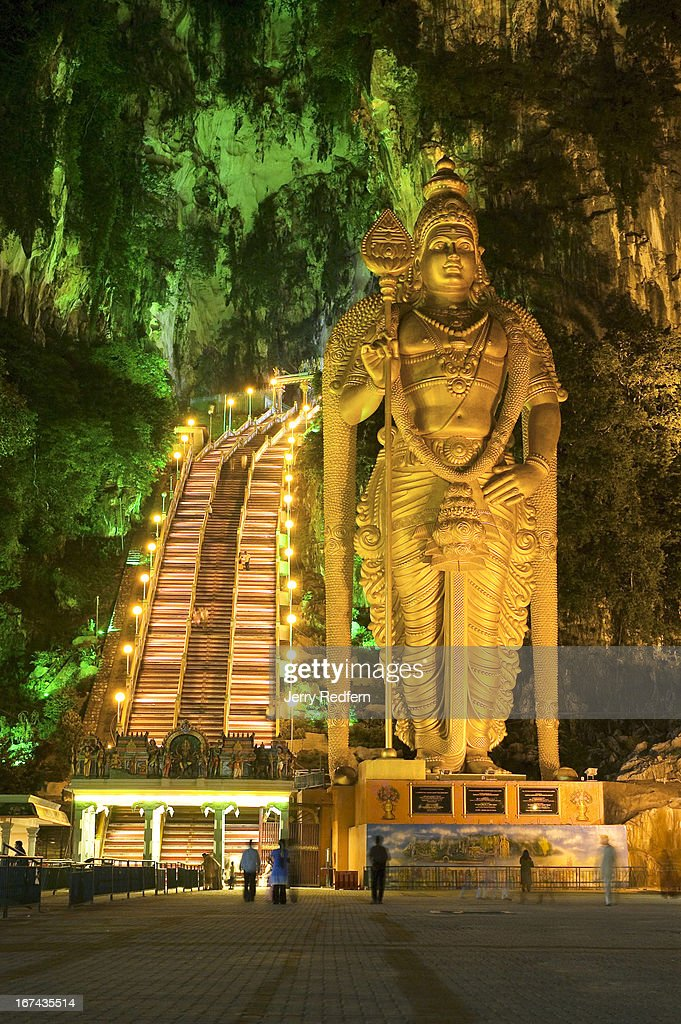 The world's tallest Murugan Statue stands in front of the 272 stairs leading to the Sri Maha Mariamman Temple, more commonly known as Batu Caves, just outside Kuala Lumpur. Though the caves have been a Hindu shrine for nearly 100 years, the statue was dedicated on January 29, 2006..