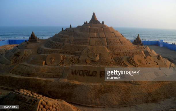 The Worlds tallest sand castle looks at the Bay of Bengal Seas eastern coast creating by sand Indian artist Sudarshan Pattnaik his Guinness Book of...