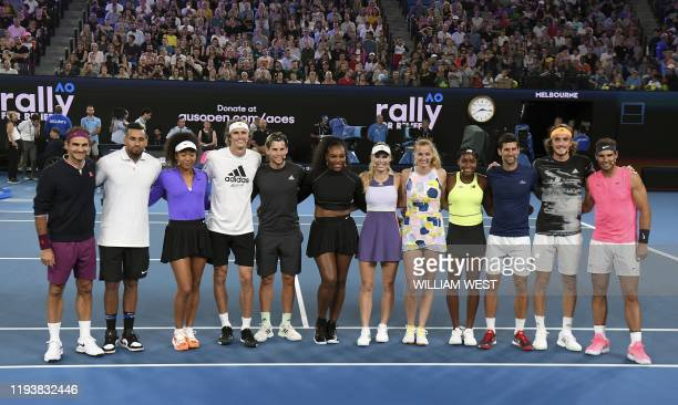 The world's top tennis players pose for a photo in the Rally for Relief charity tennis match in support of the victims of the Australian bushfires in...