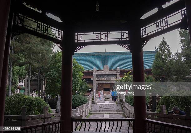 XI'AN SHAANXI CHINA The Worship Hall of the Xi'an Great Mosque as seen from the Phoenix Pavilion built in the Ming Dynasty The Phoenix Pavilion is...