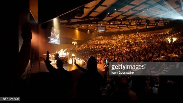 The worship team of Canyon Ridge Christian Church sing performs to over 3000 people attending a prayer vigil at Canyon Ridge Christian Church in Las...