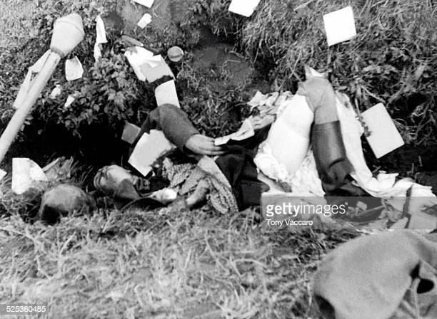 The worst of the war East of the Elbe as the body of a German woman who had been raped and then killed lies in a ditch Hohenlepte Germany World War...