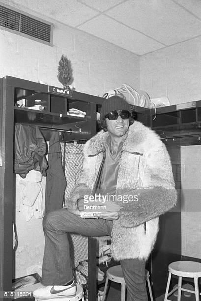 The worst season in the Jets' 15-year history is finally over, quarterback, Joe Namath picks up his mail at the team's camp at Hofstra University....