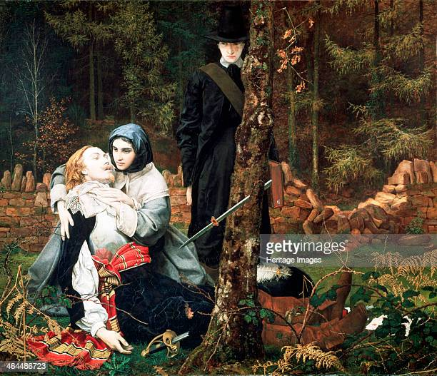 'The Wounded Cavalier' 1855 showing the injured Cavalier discovered by Puritans his sectarian enemies The man stands aloof the girl is more humane