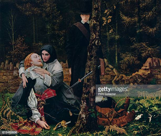 The Wounded Cavalier' PreRaphaelite painting depicts a scene from the English Civil War in which a wounded royalist soldier is comforted by a Puritan...