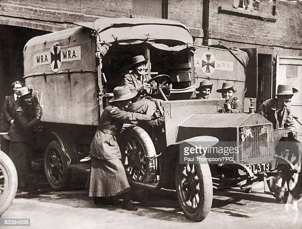 The WRA Corps learn to drive an ambulance at a London hospital before serving in France during World War I circa 1914