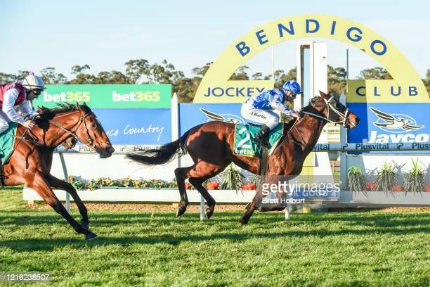 The Wrangler ridden by Jack Martin wins the Elmore Racing Club 0 - 58 Hcp at Bendigo Racecourse on May 30, 2020 in Bendigo, Australia.