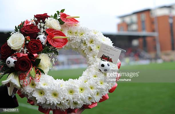 The Wreath in honour of Laurie Cunningham during the Sky Bet League One match between Leyton Orient and MK Dons at The Matchroom Stadium on October...