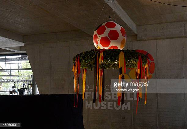 The wreath is pictured during the topping out ceremony of German Football Association football museum on April 4 2014 in Dortmund Germany The opening...