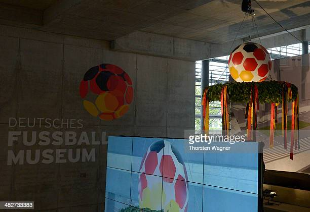 The wreath is pictured during the topping out ceremony of German Football Association football museum on April 4, 2014 in Dortmund, Germany. The...