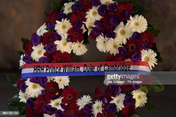 The wreath laid by the Duke of Cambridge as he visited the Yad Vashem Holocaust Memorial and Museum in Jerusalem Israel's official memorial to the...