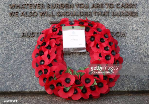 The wreath left at the Australian War Memorial by Britain's Princess Anne, Princess Royal is pictured after a during a Dawn Service to commemorate...