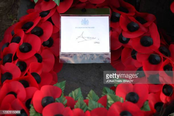 The wreath left at the New Zealand War Memorial by Britain's Princess Anne, Princess Royal is pictured after a during a Dawn Service to commemorate...