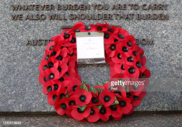 The wreath left by Princess Anne, Princess Royal during a dawn service to commemorate Anzac Day at the Australian War Memorial at Wellington Arch on...