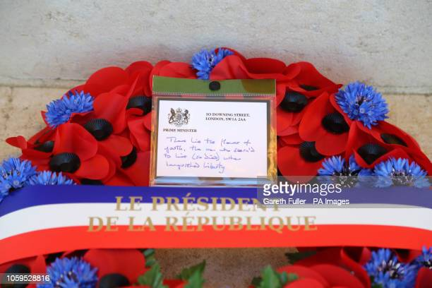 The wreath that was laid by Prime Minister Theresa May and French President Emmanuel Macron at the Thiepval Memorial in Authuille France