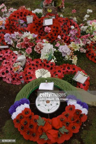 The wreath which the Duke of York placed at the Argentinian Cemetery on East Falkland Island which the Duke of York visited in memory of the soliders...