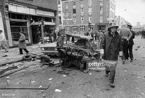 The wreck of a car that was hit in a bomb blast when three car bombs went off simultaneously during the rush hour 28 people died in the explosions...