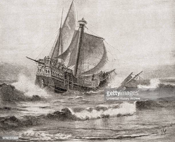 The wreck of Columbus's ship the Santa María 25 December off the coast of the island of Hispaniola The Santa Maria was the largest of the three ships...