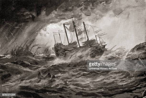 The wreck of Kublai Khan's Mongol fleet during the second invasion of Japan in 1281 due to the typhoon Kamikaze which destroyed most of the armada...