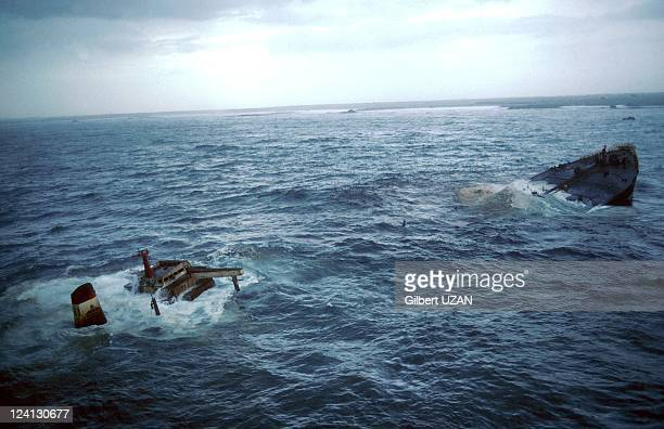 The wreck of the Amoco Cadiz in France on March 23, 1978.