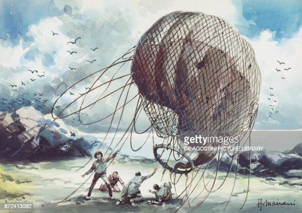 The wreck of the balloon on the island illustration for The Mysterious Island adventure novel by Jules Verne drawing