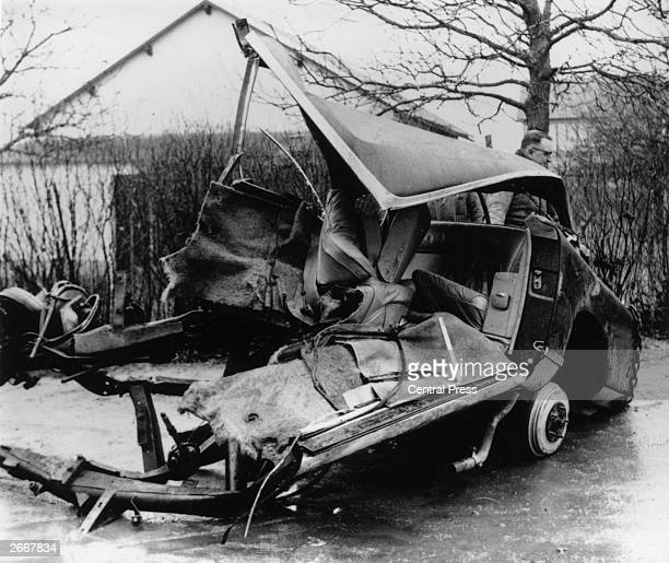 The wreck of the Facel-Vega in which French writer Albert Camus was killed at Villeblevin, France.