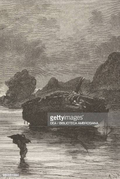 The wreck of the Grafton Auckland islands New Zealand drawing by Alphonse de Neuville from a sketch by Raynal from Wrecked on a Reef 18631865 by...